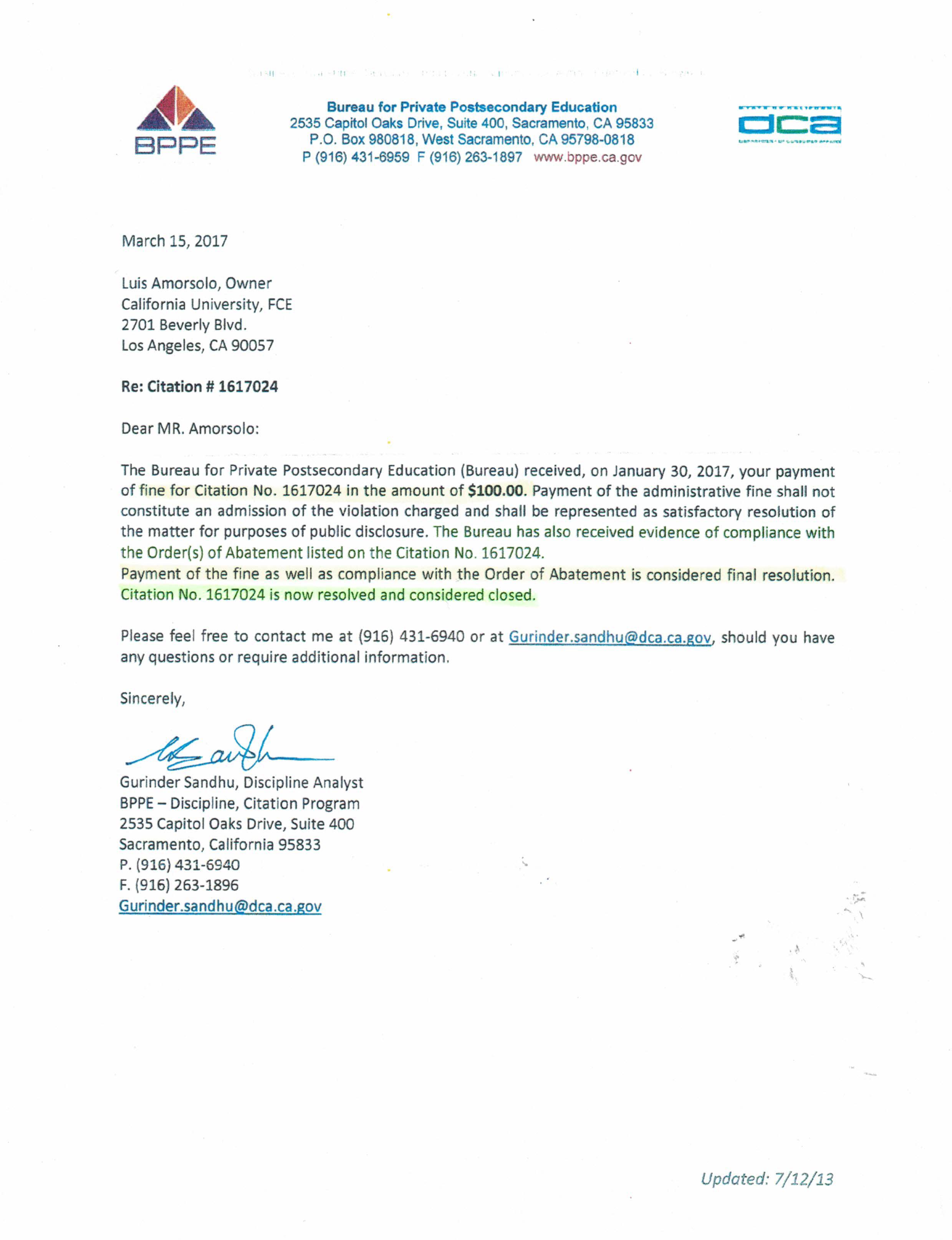 California university fce credential evaluation institution bppe decision re citation no 1617024 california department of education registration link cde california university fce yadclub Images